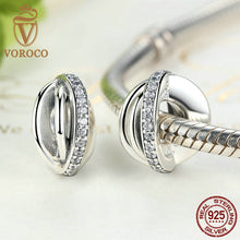 925 Sterling Silver Irregular Round AAA Zirconia Charm Charms Fit VRC Women Bracelets Fashion Jewelry C003