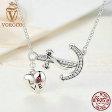 925 Sterling Silver LOVE Heart Red Crystal Arrow Pendant Necklaces For Women Fashion Wedding Jewelry N050