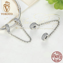925 Sterling Silver Pave Inspiration Safety Chain, Clear CZ Stopper Charms fit Bracelet DIY Fashion Jewelry C011