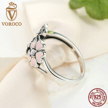925 Sterling Silver Pink Flower Poetic Daisy Cherry Blossom Finger Ring Compatible with VRC Women Jewelry R004