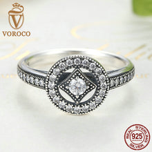 925 Sterling Silver Vintage Allure Clear CZ Finger Ring Compatible with VRC Luxury Fashion Jewelry S925 A7199