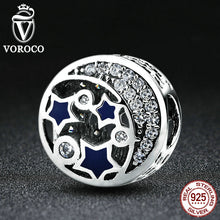 Real 925 Sterling Silver Round Blue STARS Clearly CZ Bead Charms Fit Women Bracelets DIY Accessories S379