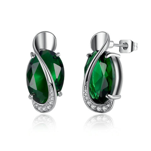 18K Platinum Plated Special Style Emerald Stones Push-back Stud Earrings for Women Earrings Jewelry Brinco E102-GN