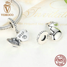 Real 925 Sterling Silver Heart Pendant Charm Charms Fit Pandora Women Bracelets Beads & Jewelry Making S383