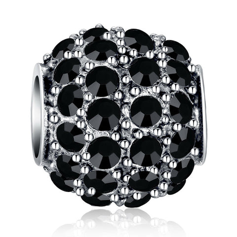 4 Colors 925 Silver Sparkling Round Black CZ Charm Fit Pan Bracelet Necklace Original Charm Accessories A5280