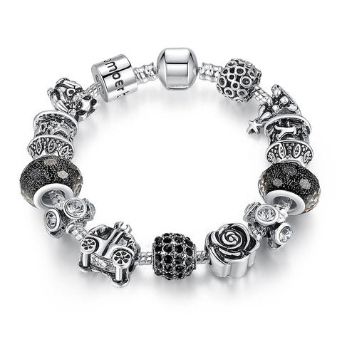 925 Silver Retro Beads Rose Car Black Ball Murano Beads Charm Bracelets for Women Fashion Jewelry A1466