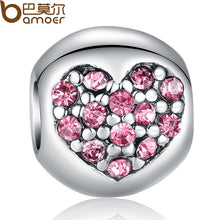 925 Silver Sparkling Love Of My Life Heart Pink CZ Floating Charms Fit Pan Bracelet Original Accessories PA5283