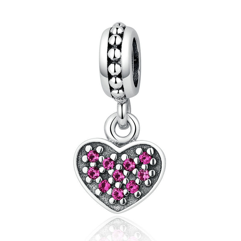 925 Sterling Silver 3 Color Romantic Heart Pendant Charms Fit VRC Women Bracelets Necklaces Jewelry C005