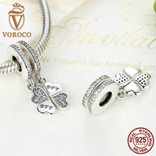 925 Sterling Silver Best Friends Forever Clear CZ Heart Clover Charms Fit VRC Women Bracelets & Necklace Jewelry S395