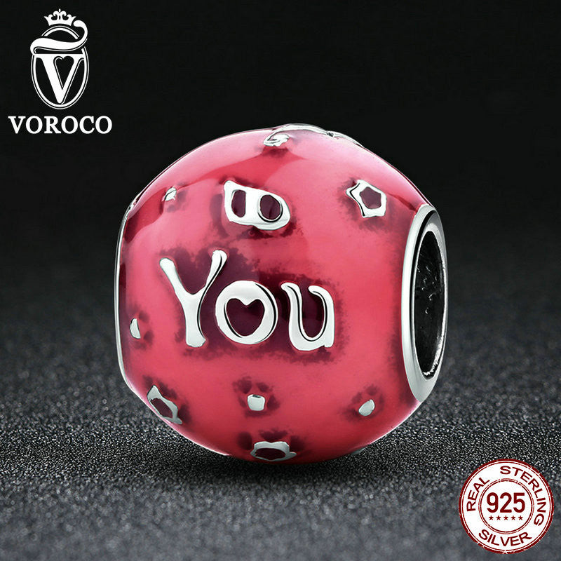 925 Sterling Silver Birthday Celebration, Transparent Cerise Enamel Pink Charm Charms fit Pandora Bracelet Jewelry C018