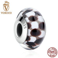 925 Sterling Silver Black & White Pattern European Murano Glass Beads Charms for DIY Bracelets & Bangles Jewelry Z011