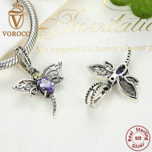 925 Sterling Silver Dragonfly Insects Purple Charms Pendants Bracelets