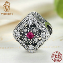 925 Sterling Silver Fairytale Treasure, Cerise Red Crystal & Clear CZ Charm Charms fit Pandora Bracelet DIY Jewelry C019