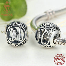 "925 Sterling Silver Letter Collocation ""H"" Alphabet Bead Charms fit VRC Bracelets & Bangles Fashion Jewelry C008-H"