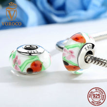 925 Sterling Silver Lovely Colorful Flower European Murano Glass Beads S925 Charms fit Pandora Bracelets & Necklaces Z015