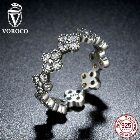 925 Sterling Silver Oriental Blossom, Clear CZ Finger Ring Compatible with VRC Women 925 Silver Fashion Jewelry A7195