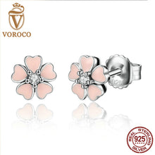 925 Sterling Silver Pink Heart Flower Female Stud Earrings Women Fashion Jewelry Friendship Year  E028-1L