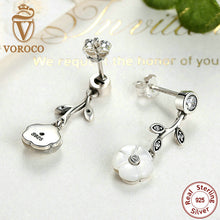 925 Sterling Silver White Flower Pendant Stud Earrings PushBack Clasp Women Earrings Compatible with VRC Jewelry S479