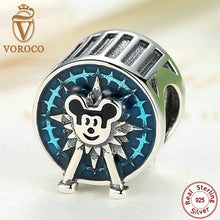 925 Sterling Silver miki Mouse Blue European Beads Charms fit Pandora Bracelets for Women Beads & Jewelry Makings PS358