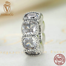 Authentic 925 Sterling Silver Alluring Cushion, Clear CZ White Charms fit Pandora Bracelet Beads & Jewelry Makings C020