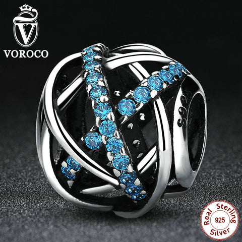 Authentic 925 Sterling Silver Blue Zirconia DIY Charms Fit Pandora Bracelets & Bangles for Women Accessories PS331