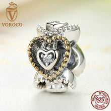 Authentic 925 Sterling Silver Celebration Of Love, Clear CZ Bead Charms Fit VRC Bracelets DIY Fashion Jewelry S392