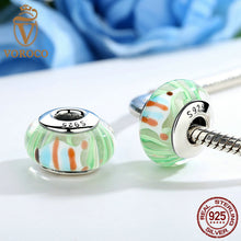 Authentic 925 Sterling Silver Green European Murano Glass Beads Charms fit Pandora Bracelets & Bangles Jewelry Z018