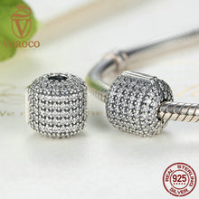 Authentic 925 Sterling Silver Stopper Pave Barrel, Clear CZ Clip Charms fit Pandora Bracelet Women DIY Jewelry C012