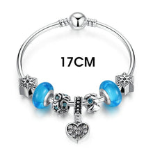 Authentic Silver Plated Blue Murano Glass Beads Heart Pendant Charm Bracelets & Bangles Fashion Jewelry A3808