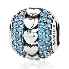 Classic 3 Parts, Clearly CZ 925 Sterling Silver Blue Heart To Heart Stud Earrings Set With Beads DIY Fashion Jewelry