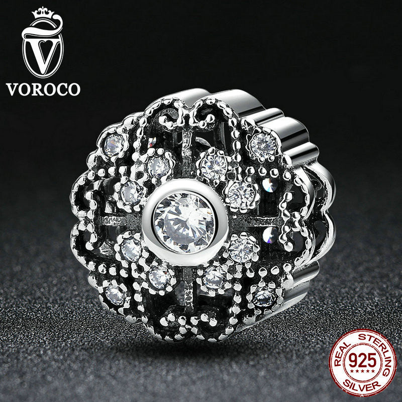Classic 925 Sterling Silver Fairytale Bloom, Clear CZ Charms Fit VRC Women Bracelets Fashion Jewelry S393