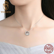 DIY Style 925 Sterling Silver Circle with Pink Crown Inside Pendant Necklaces Women Fashion Jewelry N052