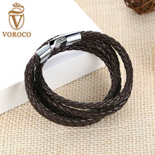 Fashion Leather Bracelet Wide Retro Black & Brown Color Chain Bracelets for Men & Women Jewelry pulseras 0288