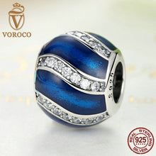 Genuine 925 Sterling Silver Blue Bead Charms Fit VRC DIY Women Bracelets & Bangles Silver Jewelry C001