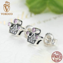 Genuine 925 Sterling Silver Pink Crystals Queen Crown Mountain Stud Earrings Women Fashion Jewelry E026-1L
