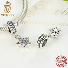 Genuine 925 Sterling Silver Pave Star, Clear CZ Pendant Charms Fit Pandora Charm Bracelets for Women Fashion Jewelry S386