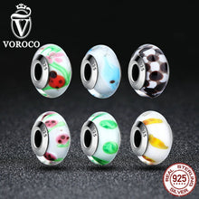 925 Sterling Silver European Murano Glass Beads Charms fit Pandora Bracelets & Necklaces Jewelry Z016