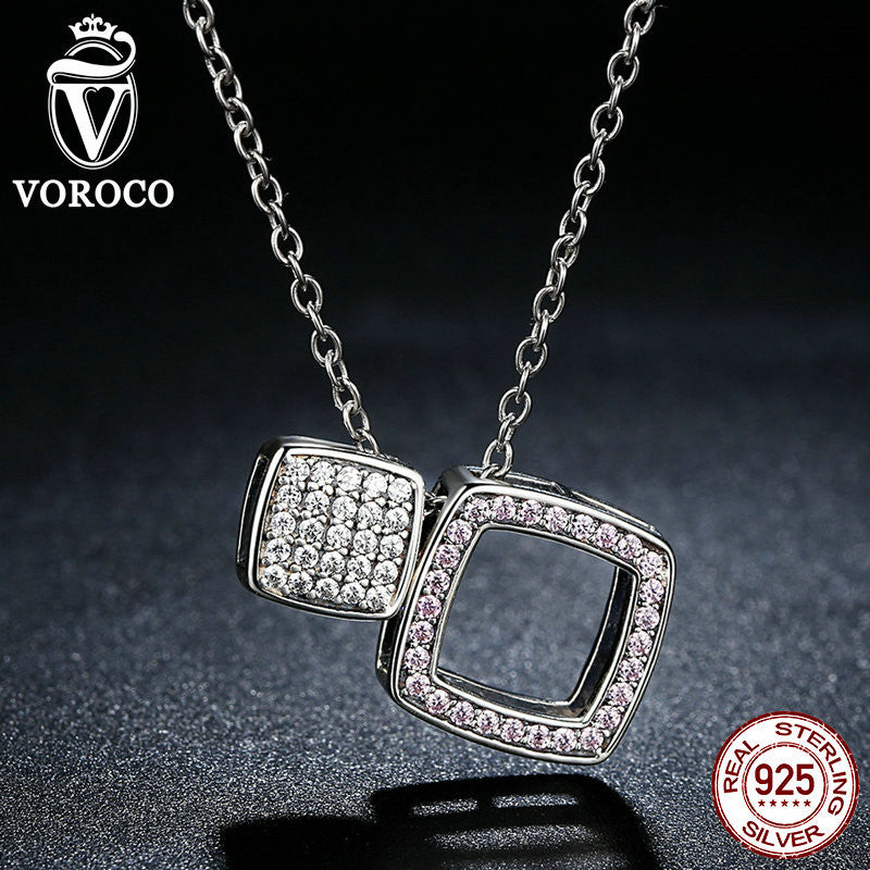 925 Sterling Silver Clearly CZ Geometric Square DIY Pendants Necklaces for Women Fashion Jewelry Wedding N059