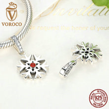 925 Sterling Silver Red Stone Snowflake Bead Charms fit Original Pandora Charm Bracelet Necklace Jewelry C075
