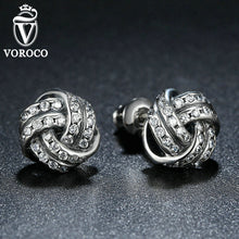 Jewelry Silver Plated Weave Round Small Women Fashion Stud Earrings Jewelry Compatible with VRC Brincos A4102