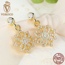 Lace Botanique Clear CZ Floral Blooms Drop Earrings Compatible with Original VRC 925 Sterling Silver Jewelry S421
