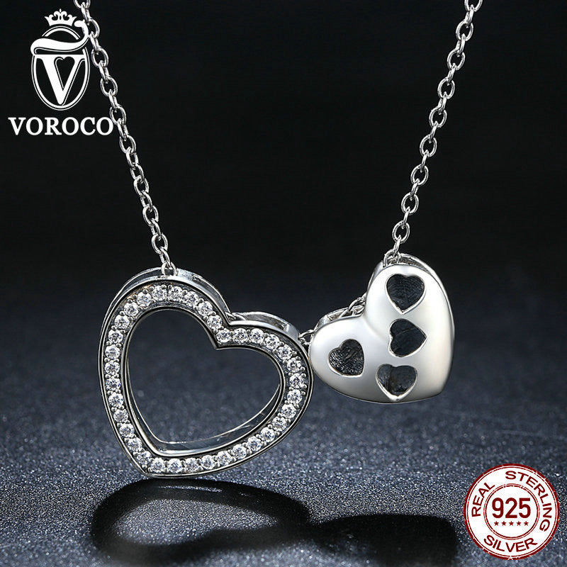 Lovely Real 925 Sterling Silver Happy Heart Pendants & Necklaces for Women Fashion Jewelry DIY Accessories N057
