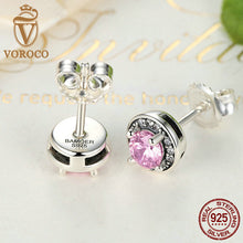 925 Sterling Silver Pink Stone Round Push Back Stud Earrings for Women Fashion Jewelry E023-1L