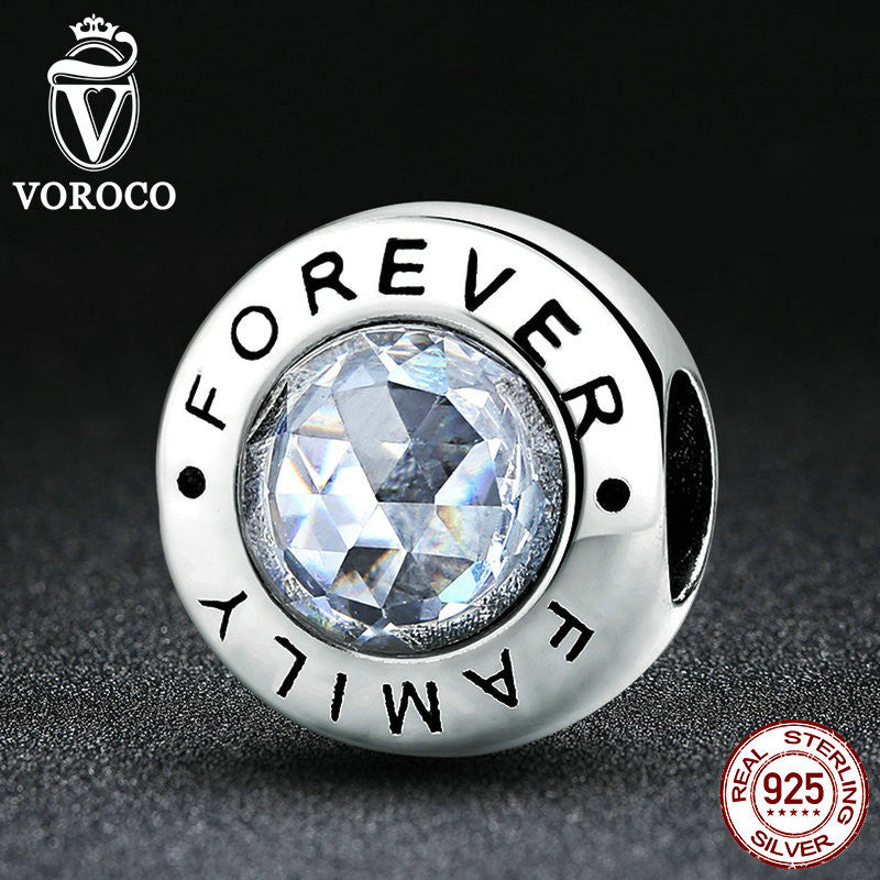 Classic 925 Sterling Silver Family Forever, Clear CZ Bead Charm Fit Pandora Bracelets Fashion Jewelry S378