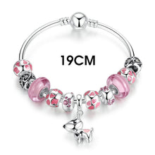 Silver Plated Lovely Dog Pendant Pink European Glass Beads Charm Bracelets & Bangles Fashion Jewelry A3810