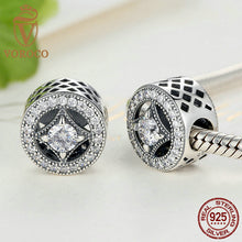 Original 925 Sterling Silver Round Shape Clearly CZ AAA Zircon Charms Fit Pandora Bracelets Beads & Jewelry Making S382