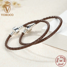 Original 925 Sterling Silver 4 Color Genuine Leather Snake Chain Bracelets Compatible with VRC Jewelry S908