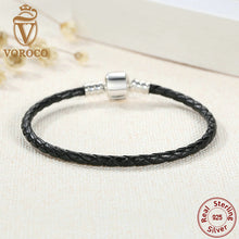 Popular 925 Sterling Silver Genuine Leather Bracelets with Snake Chain Unisex DIY Bracelet Fashion Jewelry S911