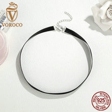 Popular Hot 925 Sterling Silver Black Fashion Choker Necklace For Women Jewelry 31CM+7CM A011