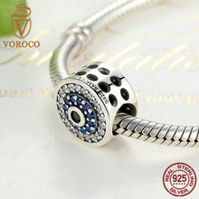 Real 925 Sterling Silver Blue Crystals Eyes Round Bead Charms Fit Pandora Charm Bracelets & Bangles Jewelry C092